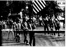 Troop 5 marches down Pondfield Road, Memorial Day Parade,  1991 Courtesy Bronxville Review Press